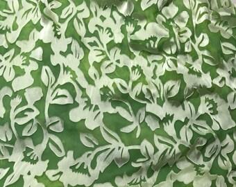 Burnout Devore Satin - Apple Green Hand Dyed Floral - 1 Yard