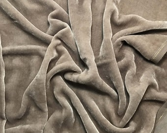 Taupe Gray HAND DYED Silk Velvet Fabric fat 1/4
