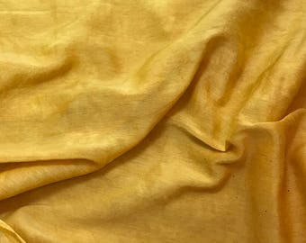 Hand Dyed HONEY MUSTARD YELLOW Silk and Cotton Voile Batiste Fabric - 1 Yard