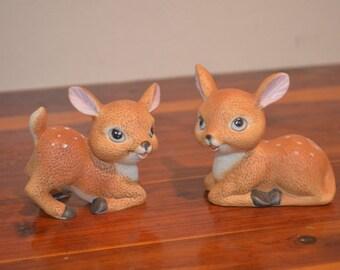 Vintage HOMCO Ceramic Deer Fawn Doe Figures Pair Twins 1473