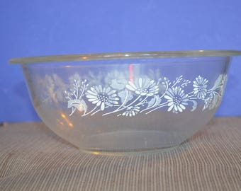 Vintage Pyrex 1.5L Liter Colonial Mist Daisy White Lace Glass Mixing Bowl #323