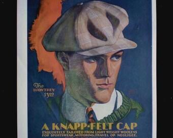 Vintage 30s 1930 Print Ad Knapp Felt Cap The Hawtrey Percy Edward Anderson