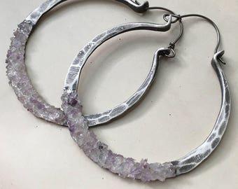 Sterling Silver Hoop Earrings / Silver Hoops / Rustic Jewelry / Sterling Hoops / Rustic Jewelry / DanielleRoseBean Large Hoops Hoop Earrings