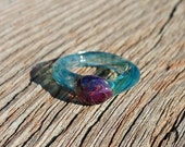 Glass Ring with Light Cobalt Blue and Dark Amber Color Cabochon Size 5 3/4 Hand Sculpted