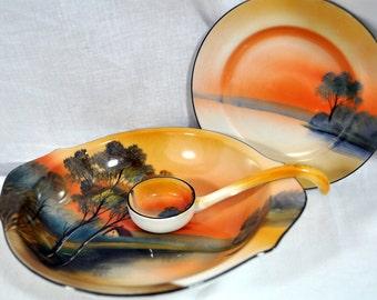 Vintage Noritake Red M Hand Painted Porcelain Sunset Lake Landscape Plate - Condiment mayonnaise bowl Ladle