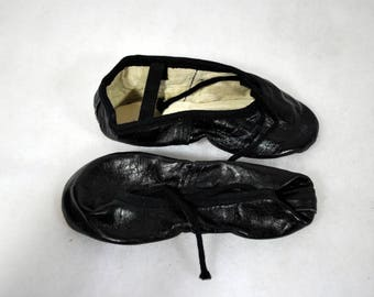Vintage Toddler  Ballet Slippers - Black Ballet Slippers - New Old Stock - NOS - Size 8 1/2 C