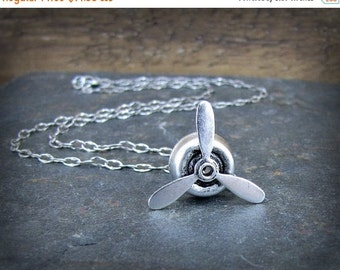 SALE Propeller Necklace Spinning  Aviation Charm Aviator Jewelry Antique Silver