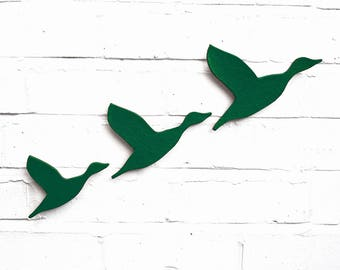 Ceramic wall art Three flying ducks in Jungle Green Modern wall sculpture artwork Bathrooms kitchens living room Dark green artwork