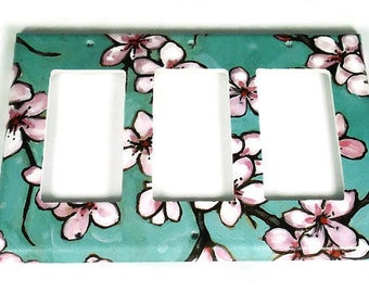 Decorative Switch Plate Wall Decor Triple Rocker Switchplate Light Switch Cover  in  Watercolor Blossoms  (170TR)