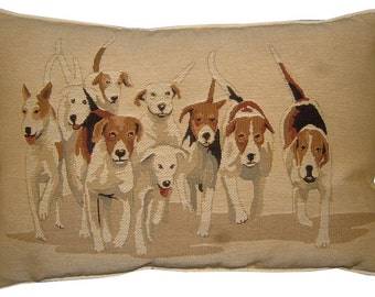 Hunting Hounds Oblong Tapestry Cushion Pillow Cover