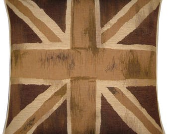 Union Jack Brown and Beige Square Woven Tapestry Cushion Cover Sham