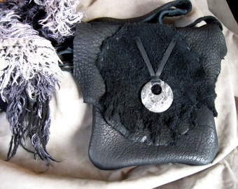 Full snow moon - handmade buffalo hide handbag