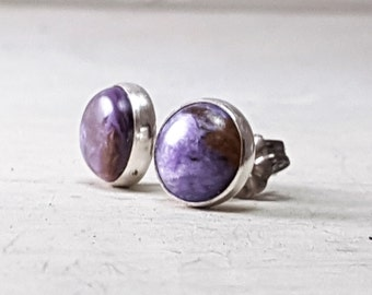 Purple Charoite stud Earrings Sterling Silver Posts Earrings 8mm