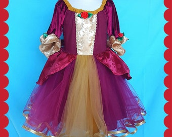 BELLE dress,  Belle Christmas dress, Belle red dress, Princess costume, holiday princess dress, Lover Dovers, Belle costume,