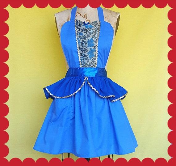 CINDERELLA APRON, Holiday hostess apron, Princess apron, womens full Apron, Lover Dovers, gold, satin, fancy apron