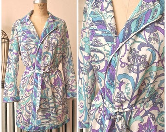 1960s Emilio Pucci for Formfit Rogers Robe | Iris Morning | Vintage 60's Short Robe with Belt Teal and Purple Op Art Print w Signature M/L
