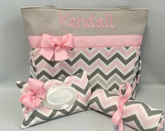 CHEVRON  in Zoom Zoom ... Pink Gray ...   Diaper Bag SET ... Monogrammed  FReE ... Wipe Cover ... Changing pad
