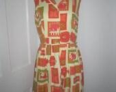 Vintage Egyptian print shirt dress - medium