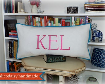 Large Font Monogram Long Lumbar Pillow Cover Sham - 14 x 28