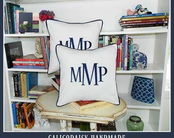 Monogrammed Pillow Cover - Set of Two - Large Font - 16 x 16 square