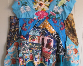 turquoise fiesta smock -  ECLECTIC ARTISAN DRESS - Upcycled Altered - Wearable Folk Art Patchwork Collage - mybonny scraps of Mexican fabric