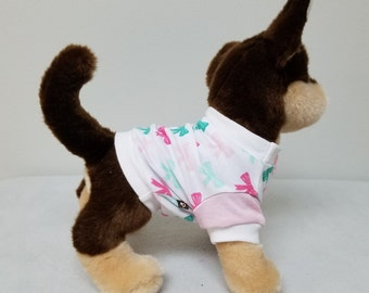 Dog Clothes Sweet Pink Bow Tshirt, Chihuahua, Yorkie