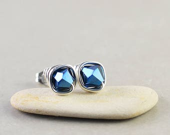 Denim Blue Crystal Studs, Bicone Crystal, Navy Blue Posts, Sterling Silver Studs