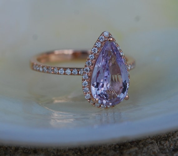 Lavender sapphire ring. 2.4ct Pear cut Peach lavender sapphire 14k rose gold diamond ring engagement ring by Eidelprecious