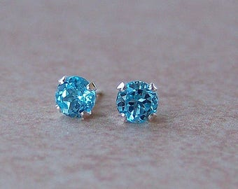 6mm Swiss Blue Topaz Sterling Silver Stud Earrings, Cavalier Creations