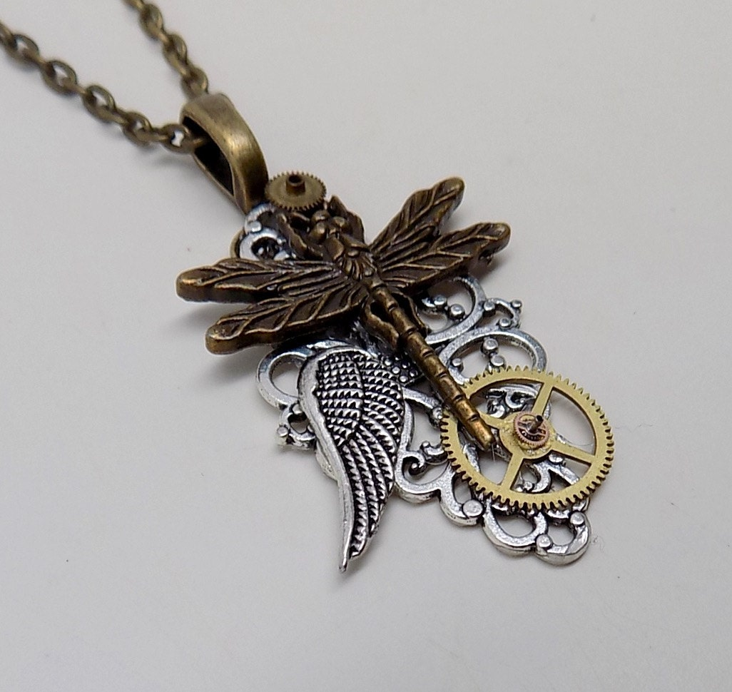 Steampunk jewelry. Steampunk dragonfly pendant necklace.
