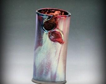 Oval Raku Vase in Metallic Iridescent Colors