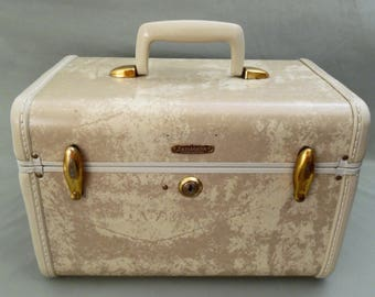 50's Samsonite train case // marbled ivory // vintage luggage // style #4512