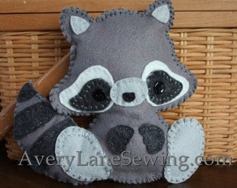 AveryLane Hand Sewing Project Felt Raccoon Stuffie PDF Pattern