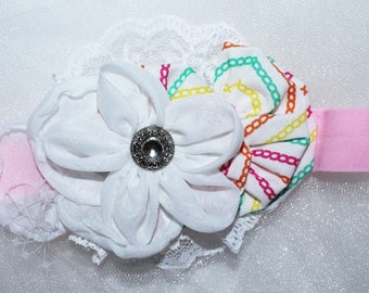 Newborn to 3 month,,fabric flower, stretch headband, baby, infant, photo prop,pink,white