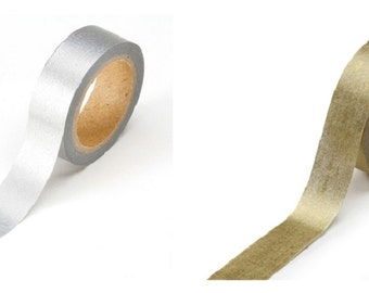 "Metallic Gold or Silver Washi Tape Roll .625""X315"" Scrapbooking 1217-101-2 fnt"