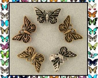 2 Hole Beads Butterfly Butterflies ~ 3T Silver Copper Gold Metal ~ Sliders QTY 5     (SKU 491062799)