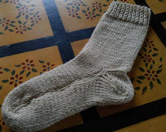 Hand Knit Alpaca Wool Socks Women,s  Large 8-10 Cream