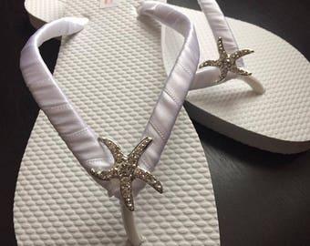 Corrine Starfish Bridal Flip Flops, Custom Flip Flops, Dancing Shoes, Starfish Bridal Sandals, Wedding Flip Flops, Beach Wedding Shoes