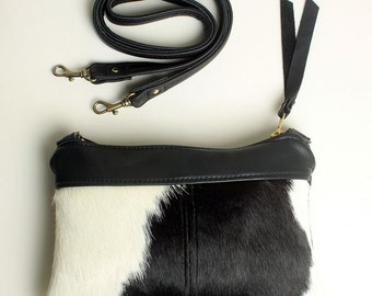 Mini Cross body Purse with Removable Strap Clutch Bag in Black and White Hair On Cowhide Leather