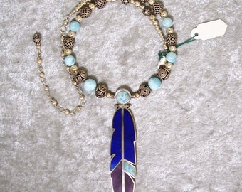 Piscean Dream II - OOAK Reversible Feather Necklace in Lapis Lazuli, Sugilite, Larimar, and Sterling Silver