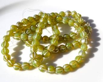 Choice of 6mm Melon Round Czech Glass Beads  Melon green, gold medley and dark green  25
