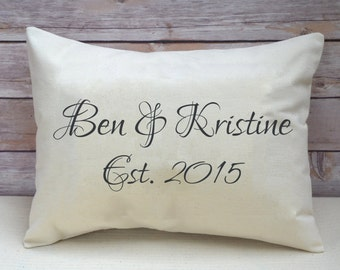 2nd anniversary,Couples gift, valentines, couples names, personalized pillow, wedding gift, 2nd anniversary, cotton anniversary, engagement