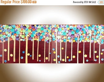 """Contemporary wall art Colorful Abstract painting red yellow green purple teal blue wall art wall decor """"Fantasy Woodland"""" by QIQIGALLERY"""