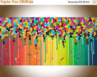 """abstract art abstract painting painting on canvas wall hanging wall decor wall art gift for her """"Flower Shower"""" by qiqigallery"""