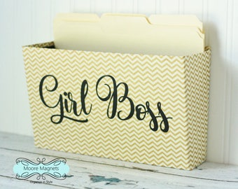 Wall Pocket with closed sides - gold and cream chevron, option to personalized, office organizer, girl boss, gold office accessories