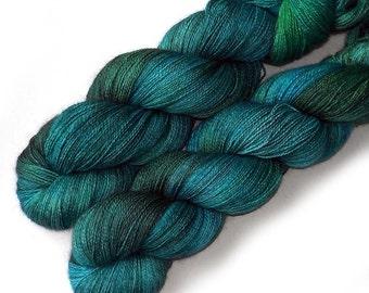 Lace Yarn Baby Alpaca, Silk and Cashmere - Blue Eden, 870 yards