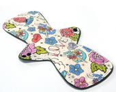 13 inch Reusable Cloth Menstrual pad- MODERATE flow -bamboo core - Windpro - cotton flannel top- Tattoo
