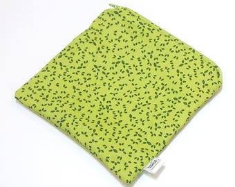 "Small Wet Bag for your purse or diaper bag - 6"" X 6.5"" inches - ""Green Leaves"" - Woven Cotton Print - wetbag"