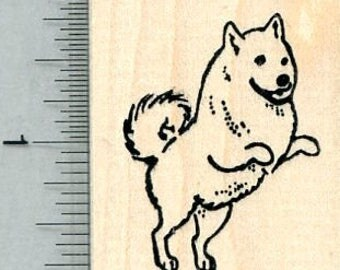 Eskimo Dog Rubber Stamp, on Hind Legs G32018 Wood Mounted