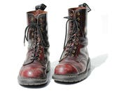 Men's Two Tone Burgundy Red Leather Goth Steel Toe Boots / size 9.5